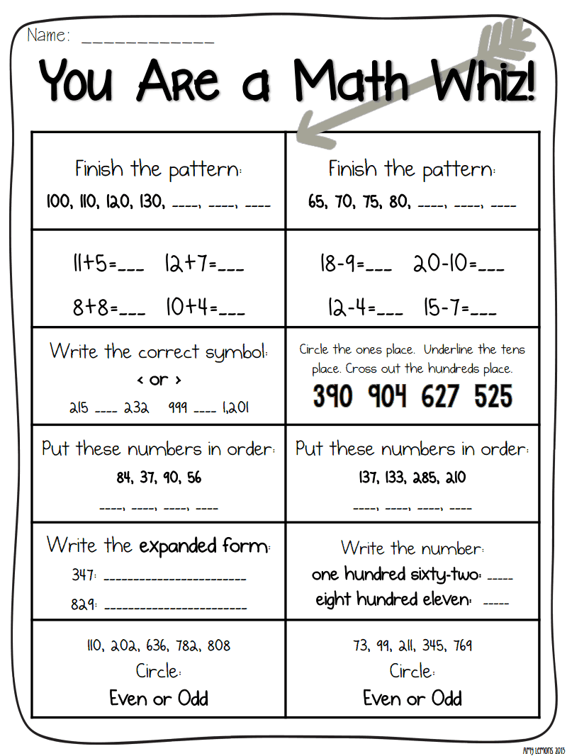 picture regarding 2nd Grade Assessment Test Printable named Pin upon Math