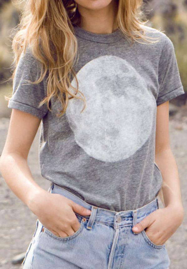 208f15af2be MOON heather grey SHIRT super SOFT unisex t shirt all sizes xs-xxl ...