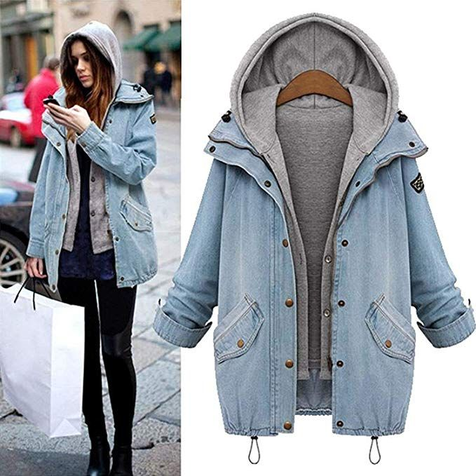 sitengle Damen Jeansjacke Denim Winterjacke Blazer