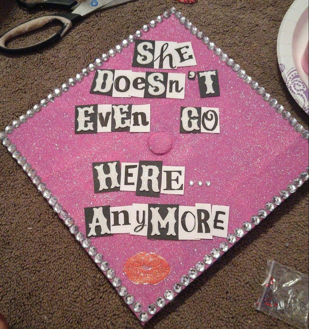 003 Mean girls graduation cap. Pink paint Mod podge Pink fine