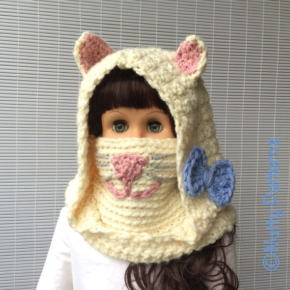 Crochet Patterns Angora Cat Hooded Cowl baby toddler child ...
