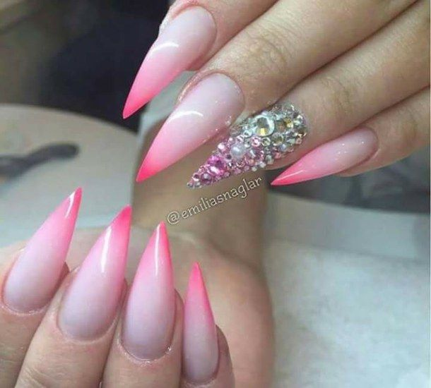 nails Ombre Accent   Pink And White Ombre Stiletto Nail Art With ...