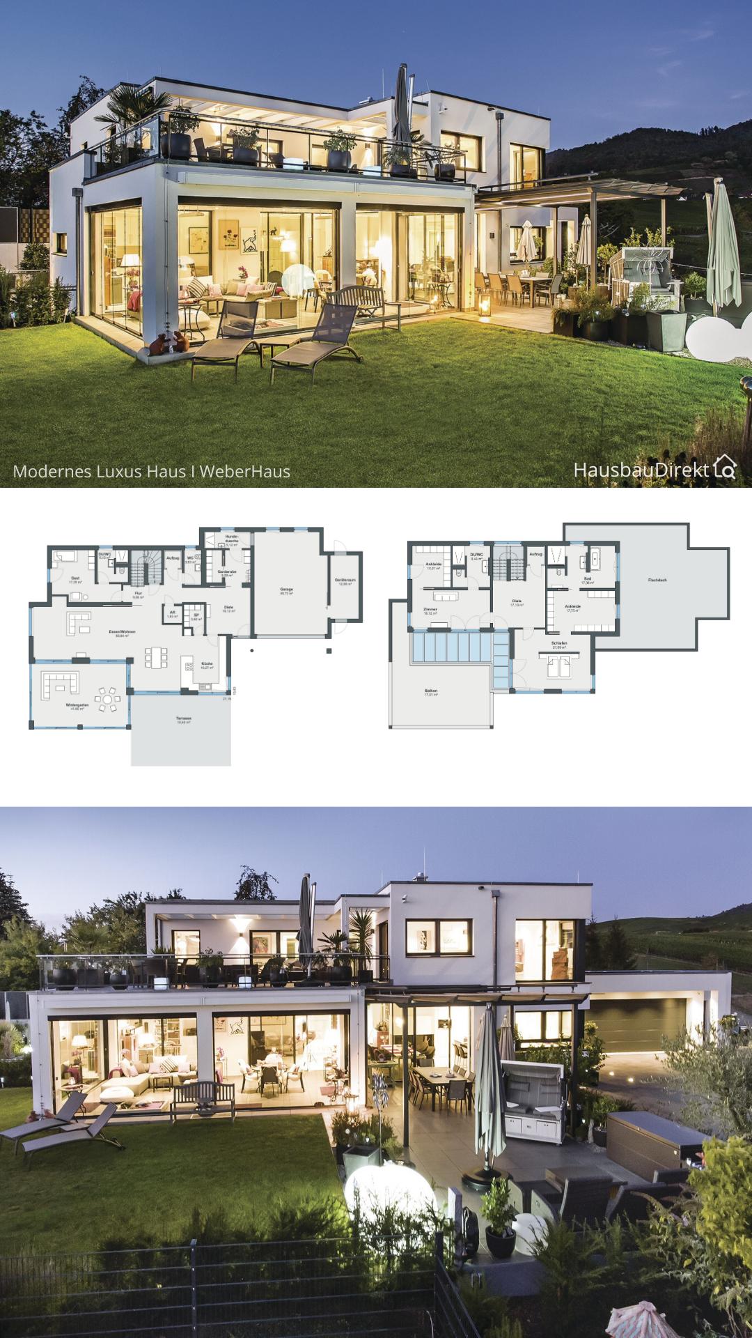 Moderne Einfamilienhaus Villa mit Garage & Flachdach im Bauhausstil bauen Haus Grundriss Ideen