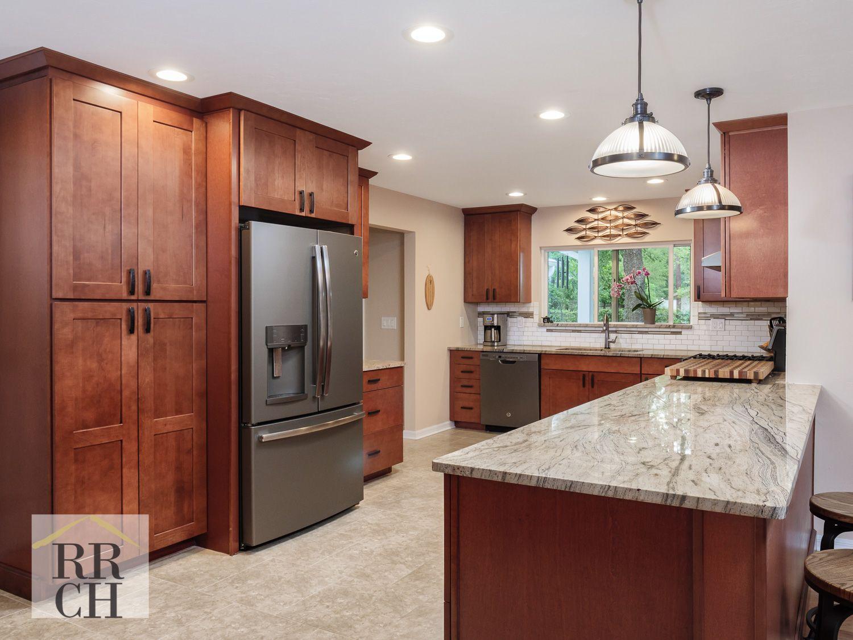Wide Open Spaced Kitchen With Waypoint Living Spaces Maple Auburn Glaze Cabinets With Kalahari Desert Granite Tops Maple Kitchen Cabinets Maple Kitchen Kitchen