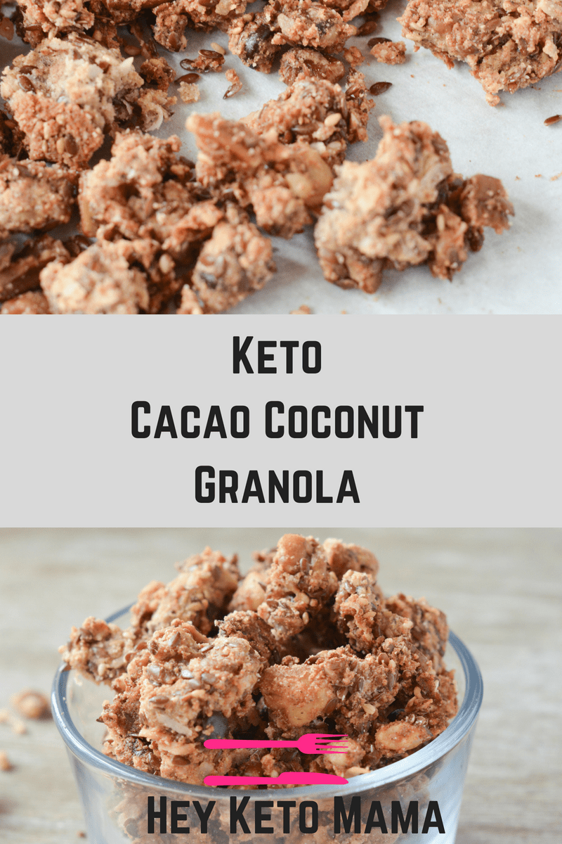 This Keto Cacao Coconut Granola Is A Delicious Low Carb Treat To Satisfy Your Cravings For Morning Cereal Or J Coconut Recipes Keto Recipes Easy Keto Granola