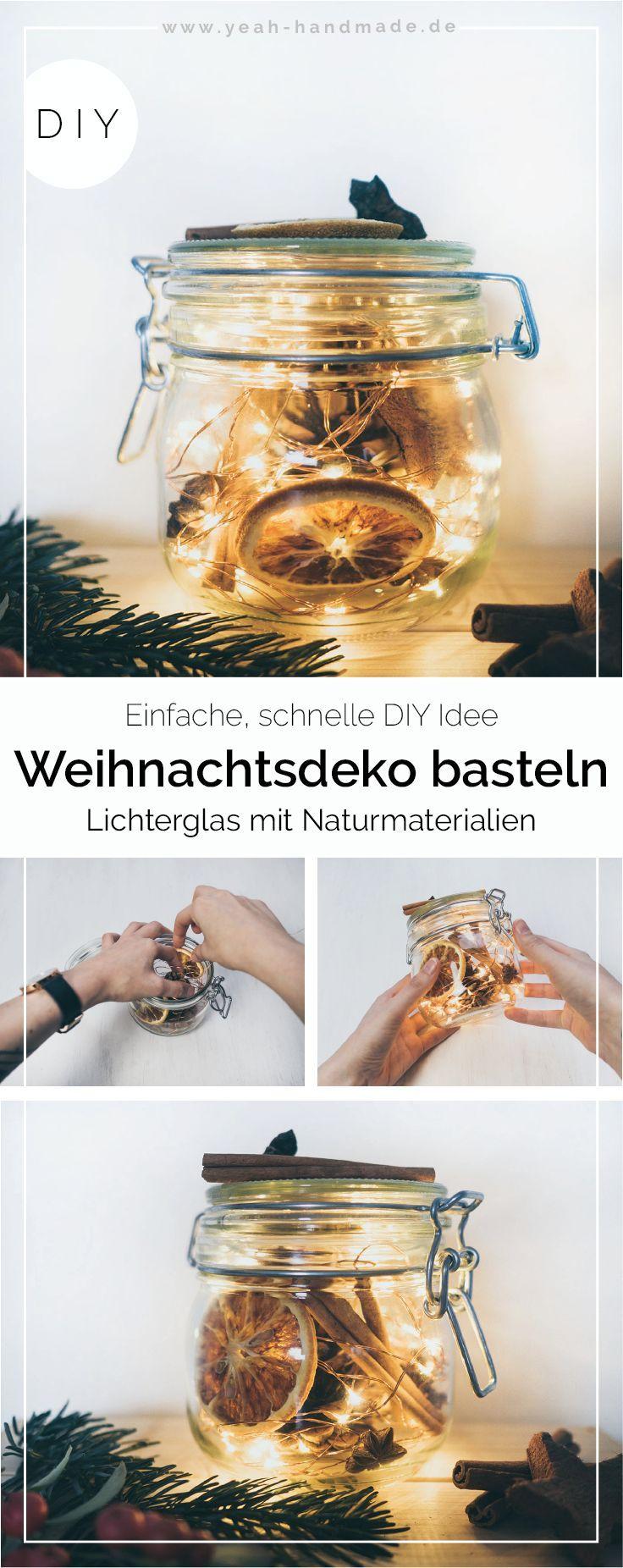Diy Lichterglas Zu Weihnachten Als Deko Basteln Bugelglas Mit Led Lichterkette Und Winterli Weihnachtsdeko Basteln Diy Weihnachtsdeko Basteln Weihnachtsdeko