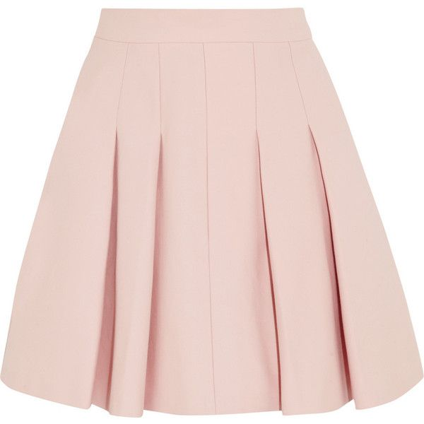 Pleated stretch-cotton mini skirt (450 BRL) ❤ liked on Polyvore featuring skirts, mini skirts, bottoms, saias, faldas, red valentino skirt, short mini skirts, pink mini skirt, short pink skirt and cotton stretch skirt