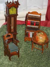 Miniature: Old Fashioned Dolls House Furniture Library  Steps,bookcase,clock, Old Globe