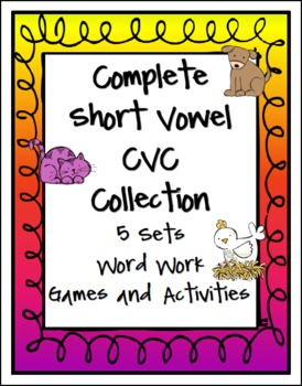 ($) This is a collection of 5 Short Vowel CVC Word Work units from Games 4 Learning. Each set contains Poster Fun and Games, Rhyming Word Sort, Word Puzzler, Word Builder, Short vowel, Long vowel Word Sort, Roll and Write, Read the Room and Draw, Make a Rhyme, I Have Who Has?