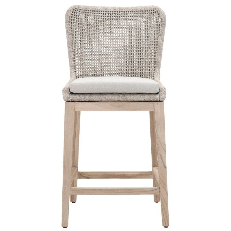 Cecil 26 5 Teak Bar Stool With Cushion Bar Stools Patio Bar