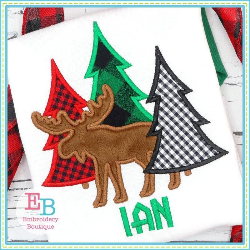 Moose Tree Trio Applique Design Christmas Embroidery Designs Moose Applique Pattern Christmas Tree Embroidery Design