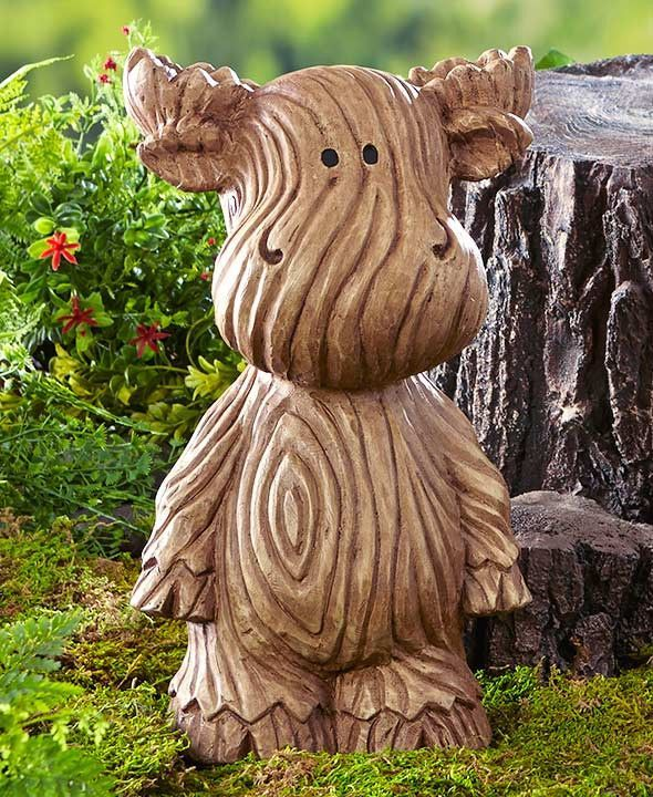 Wood Look Garden Statue Moose Bear Owl Ceramic Carved Grain Texture Large