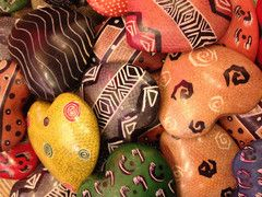 Patterned Love Rocks  Love Heart Rocks hand carved and hand painted from Kisii Stone from artisans from the Kisii region of Kenya. 2X2