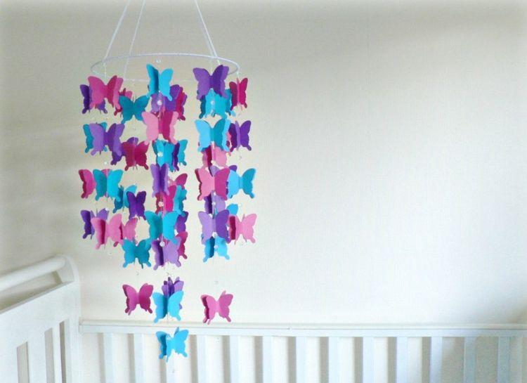 Mobile Selber Basteln Schmetterlinge Blau Pink Papier Kinderzimmer