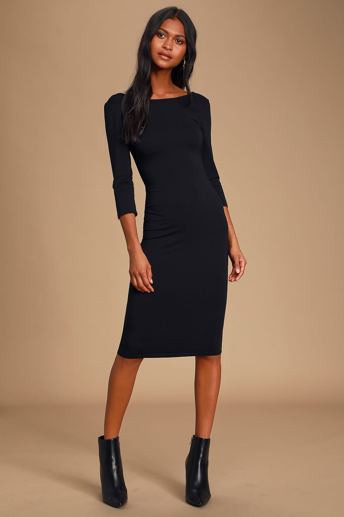 True To You Black Midi Dress In 2021 Midi Dress Casual Long Sleeve Dresses Fall Chic Black Dress [ 1680 x 1120 Pixel ]