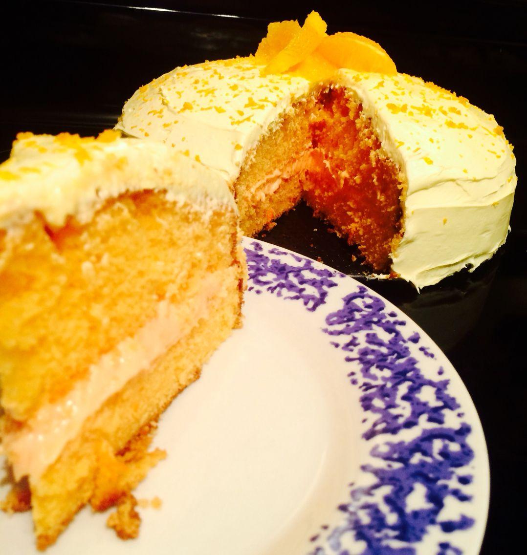 2 layer 9inch orange crush soda cake with butter cream