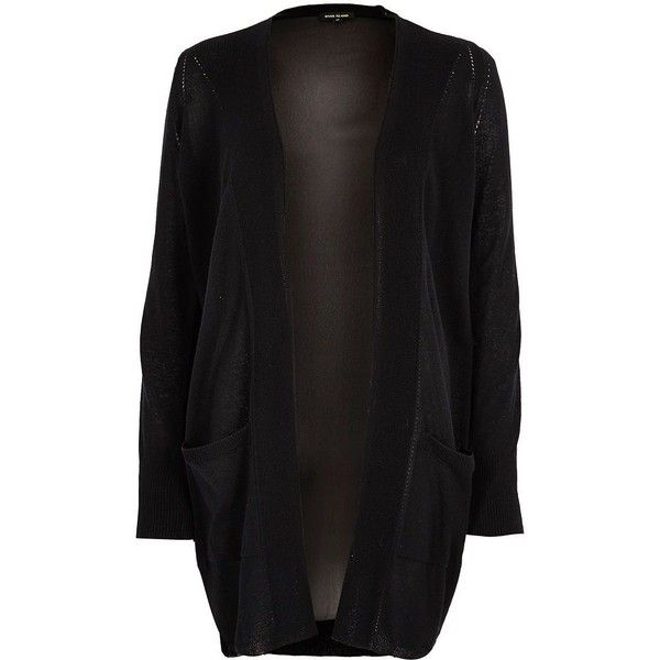 River Island Black chiffon back knit cardigan ($70) ❤ liked on ...