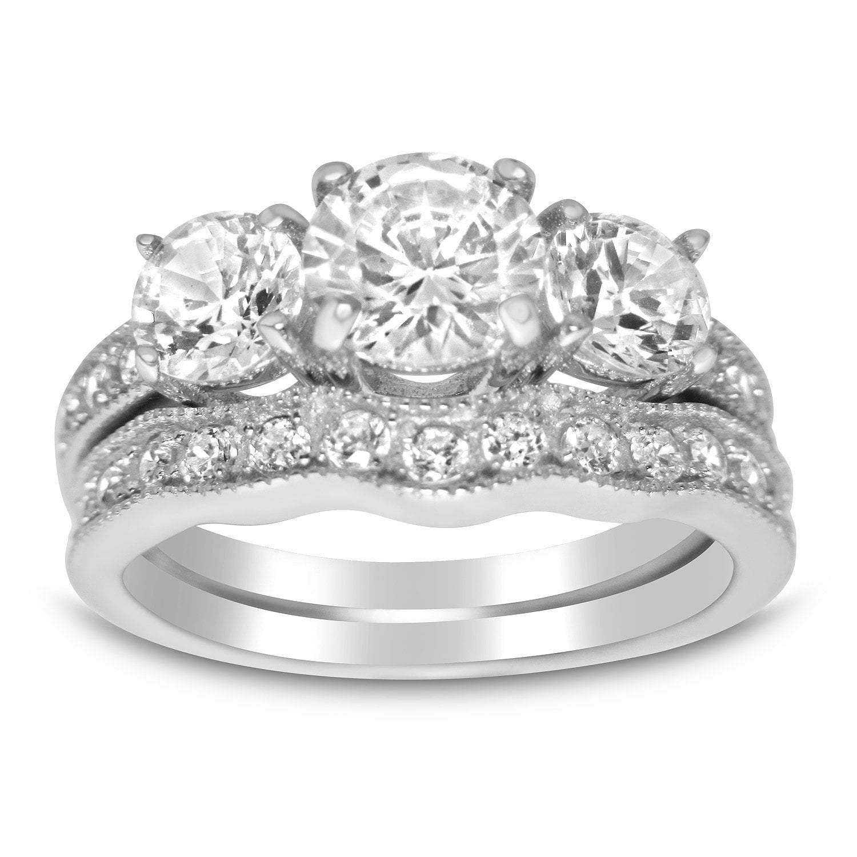 Realistic Cubic Zirconia Wedding Ring Set for Women
