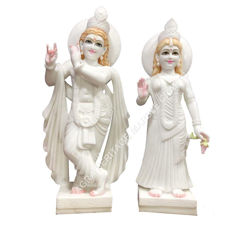 White Stunning Fine Marble Radha Krishna Deities Handmade Idol
