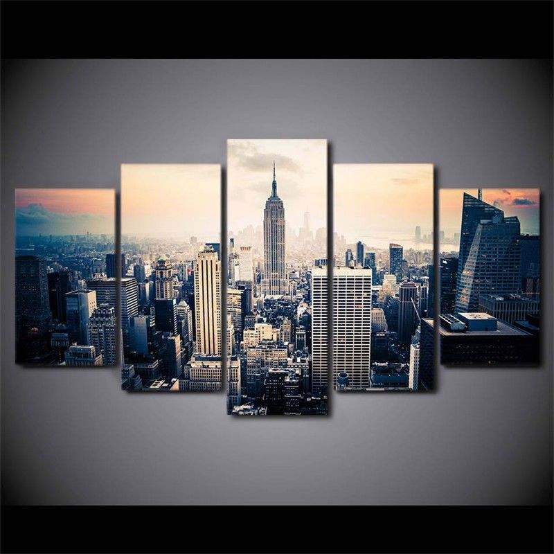 Landscape new york view 5 panel oil painting printed canvas wall art home decor