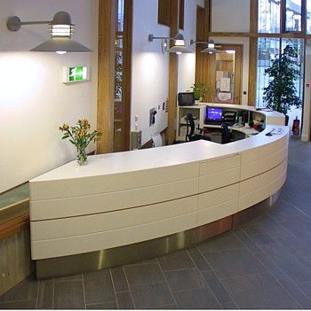 Curved Dual Height Kick Plate Office Design Reception