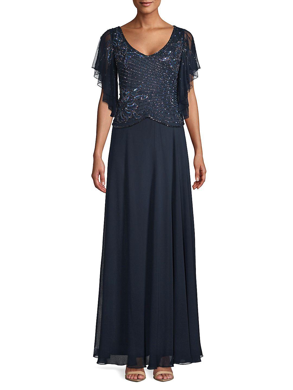 Petite Embellished Flutter Gown