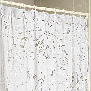 Vinyl Lace Shower Curtain Shabby Chic Shower Curtain Shabby