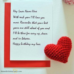 Write Name On Wish Birthday Card For Lover