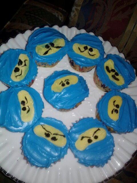 Ninjago cupcakes. Yellow chocolate mask/face.