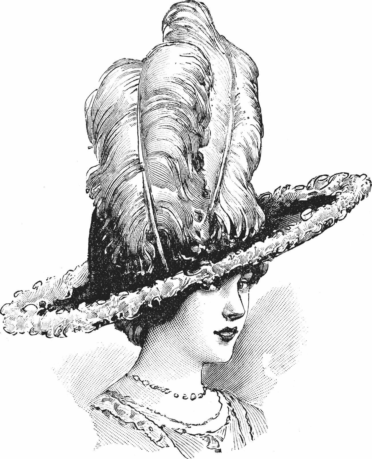 Vintage 1920 Fashion Clip Art   Fashion plate, woman in Ostrich plume hat, French catalog, 1911