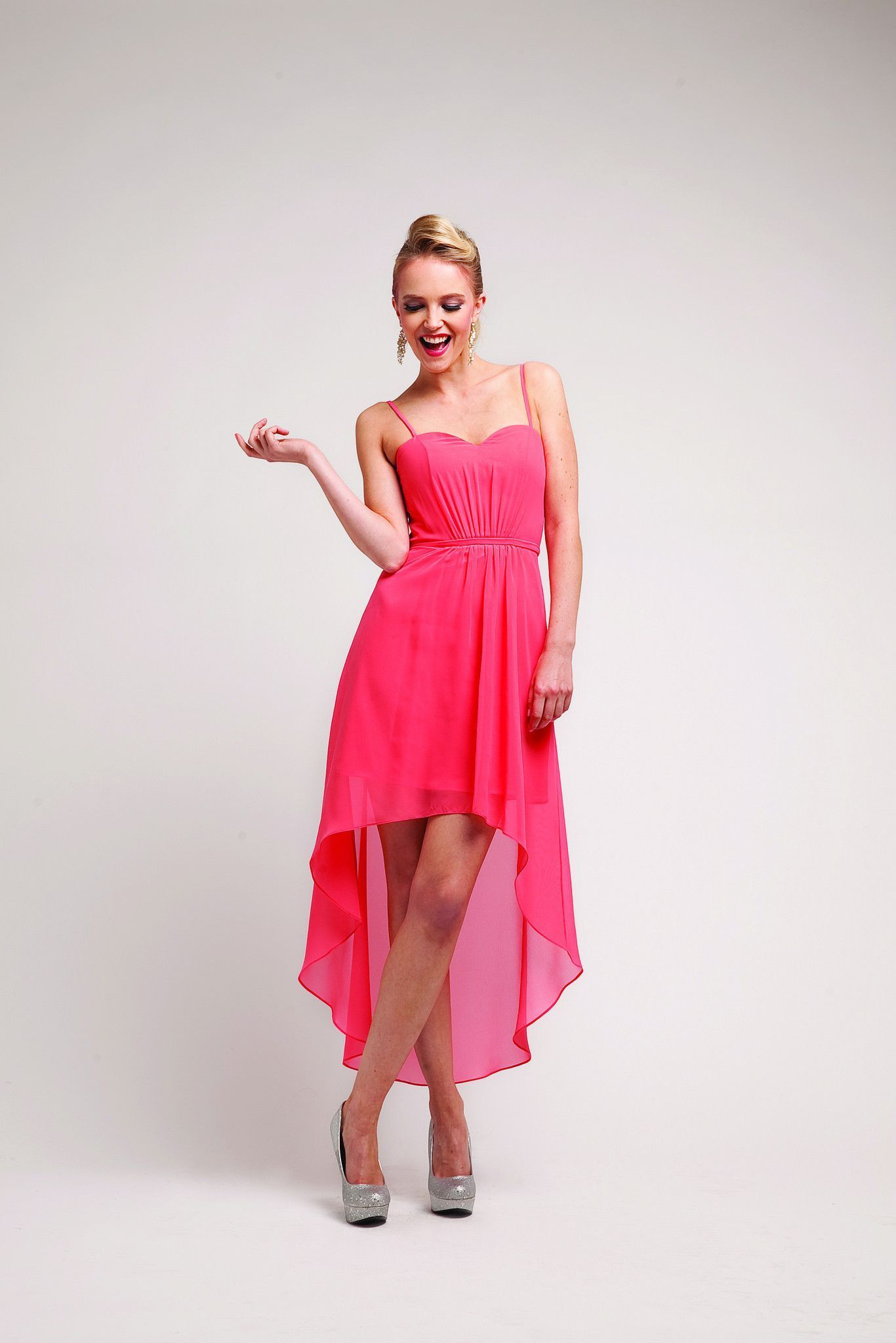 Fashion week Dama coral high low dresses for woman
