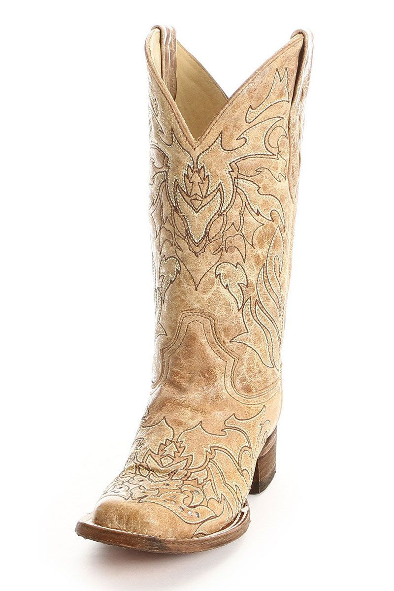 Corral Women's Tan Antique Saddle Rhinestone Cowgirl Boots ...