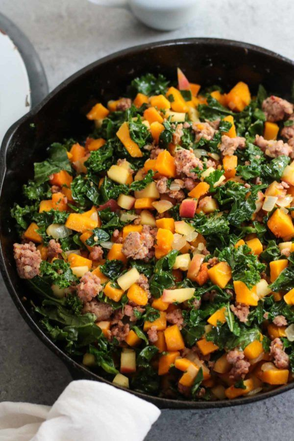 Photo of Butternut Squash and Apple Hash with Sausage