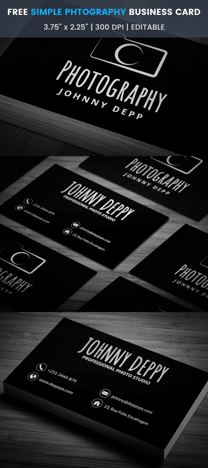 Free vintage photography business card photography business cards retro one color photography business card template click reheart Choice Image