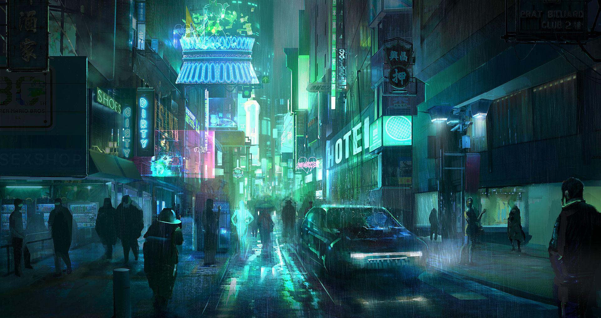 ArtStation Cyberpunk street, Liang Mark