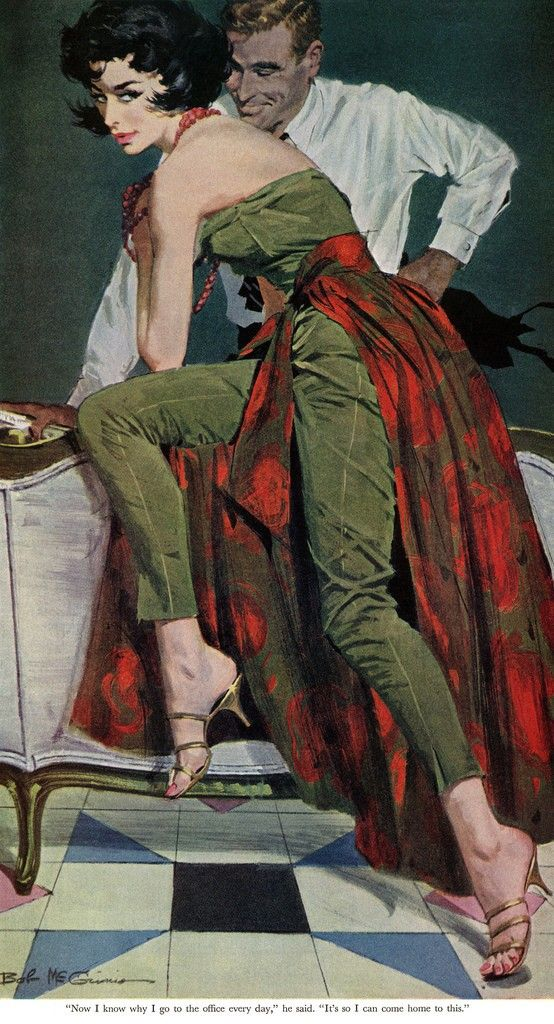 """Robert McGinnis illustration for Jack Finney's """"The Other Wife"""",The Saturday Evening Post, January 301960.  Saved by @feetvicious2 #feetvicious2 #longlegs #justfeet #illustration #heels #highheels #femmes #retro #pulp"""