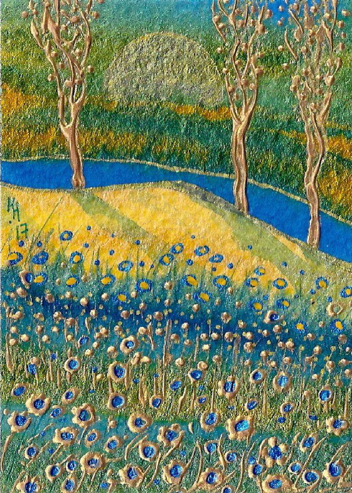 "ACEO Original ""Golden Harmony"" Art Card Painting - By Hélène Howse  #Miniature"