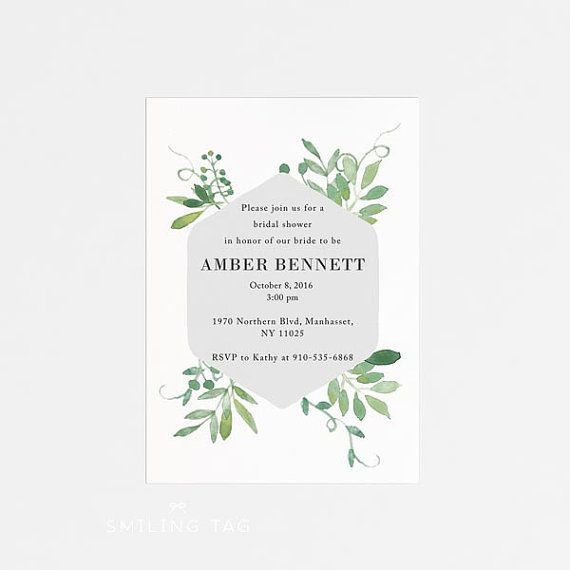 Printable Bridal Shower Invitation - Botanical Garden Bridal Shower