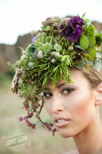 Botanical headpiece composed of succulents, eucalyptus pods, money plant, sweetpiece, skeleton cactus branch, bersillia, hellebore and leucodendron. Created by Françoise Weeks.