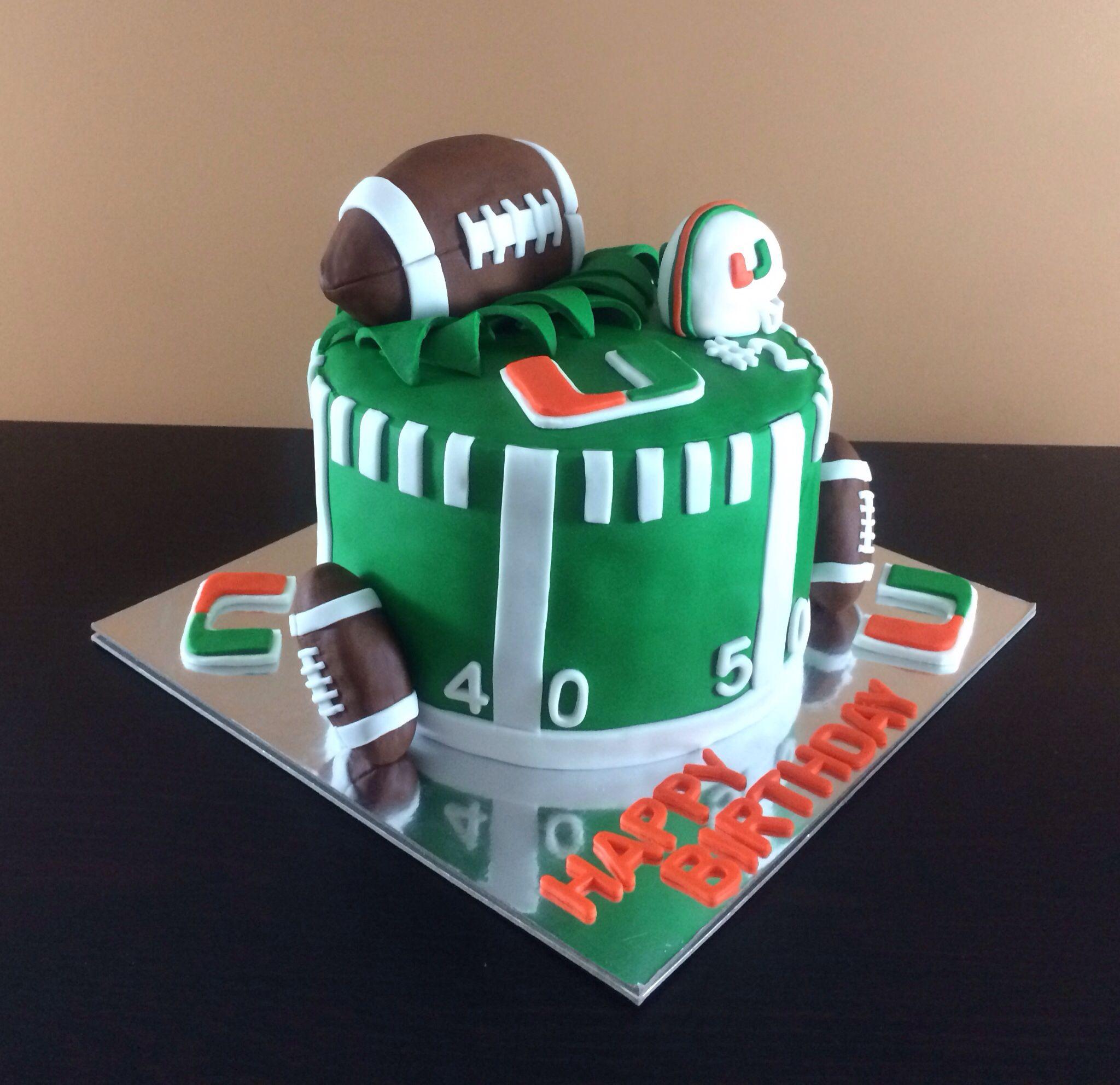 Strange University Of Miami Cake Football Um Universityofmiami Funny Birthday Cards Online Hendilapandamsfinfo