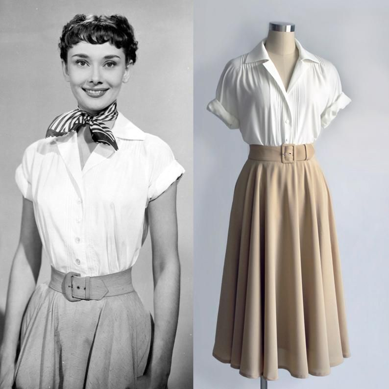 Audrey Hepburn Fashion/ Roman Holiday/ White Blouse/ Pleated Blouse/ Women Blouse/ 1950s/ Custom Made Top | Gift for woman