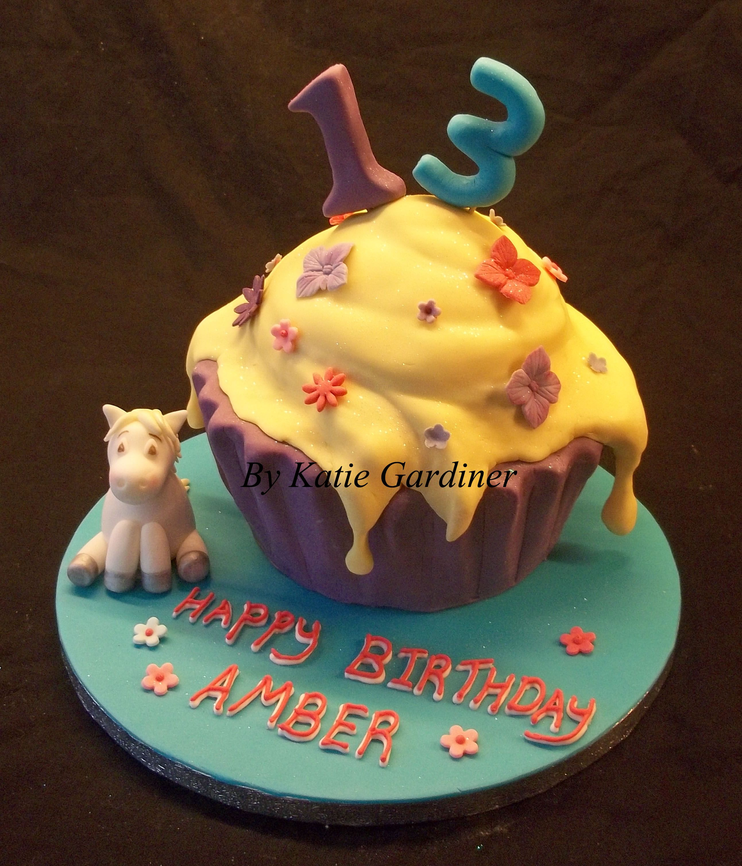Sensational Colourful Pony Giant Cupcake With Images Celebration Cakes Personalised Birthday Cards Sponlily Jamesorg