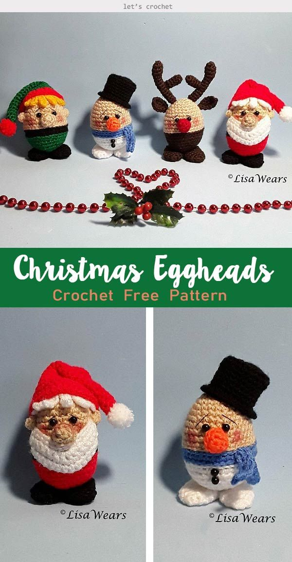 Christmas Eggheads Snowman Crochet Free Pattern #dollhats