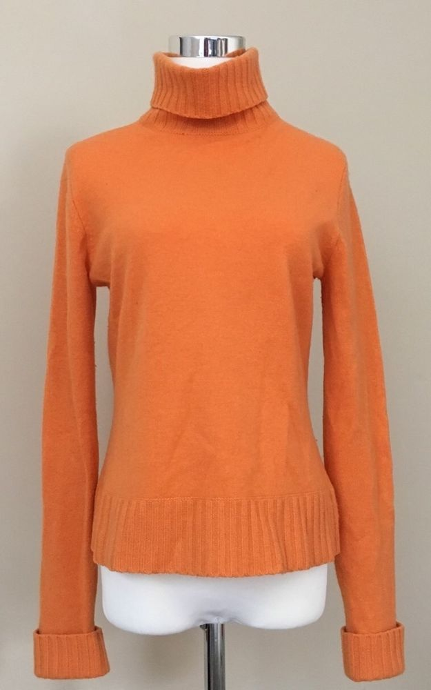 Lord Taylor Womens Sweater Sz M Orange 100 Cashmere Turtleneck