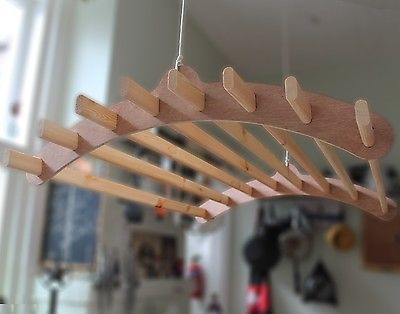 8 Lath Handmade Wooden Hanging Clothes Drying Rack Or Pot Rack - Ceiling Mounted