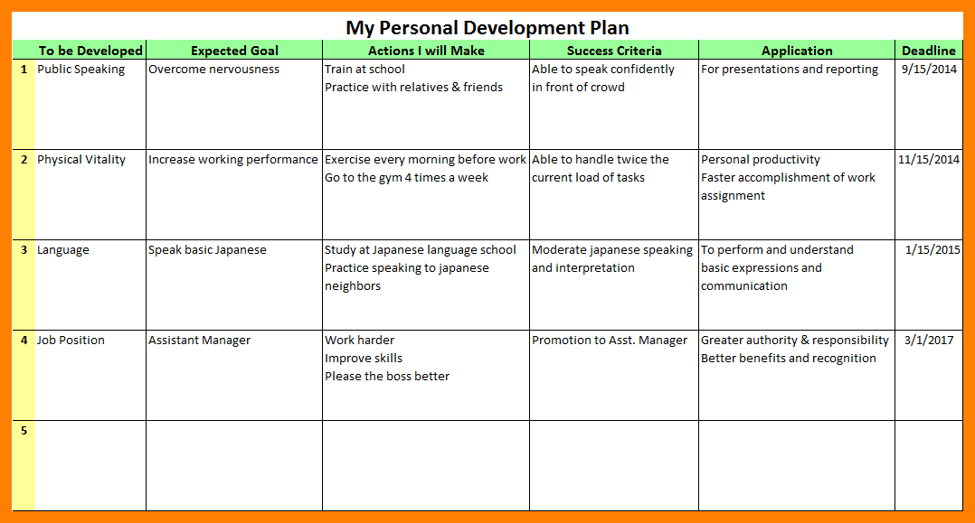 Personal Development Plan Template Computer Invoice  Education