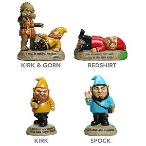 Star Trek Garden Gnomes | ThinkGeek  NOT YOUR GARDEN-VARIETY GNOME  Choose Kirk, Kirk & Gorn, Redshirt, or Spock Made from durable cast polyresin, so they'll last for years A ThinkGeek exclusive!