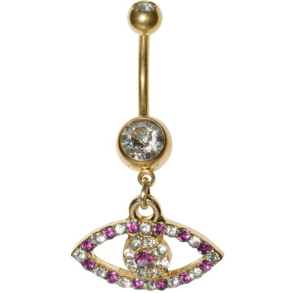 Supreme Jewelry Goldtone / Clear Crystal Evil Eye Belly Ring ($11) ❤ liked on Polyvore featuring jewelry, ball jewelry, clear quartz crystal jewelry, polish jewelry, belly rings jewelry and gold tone jewelry