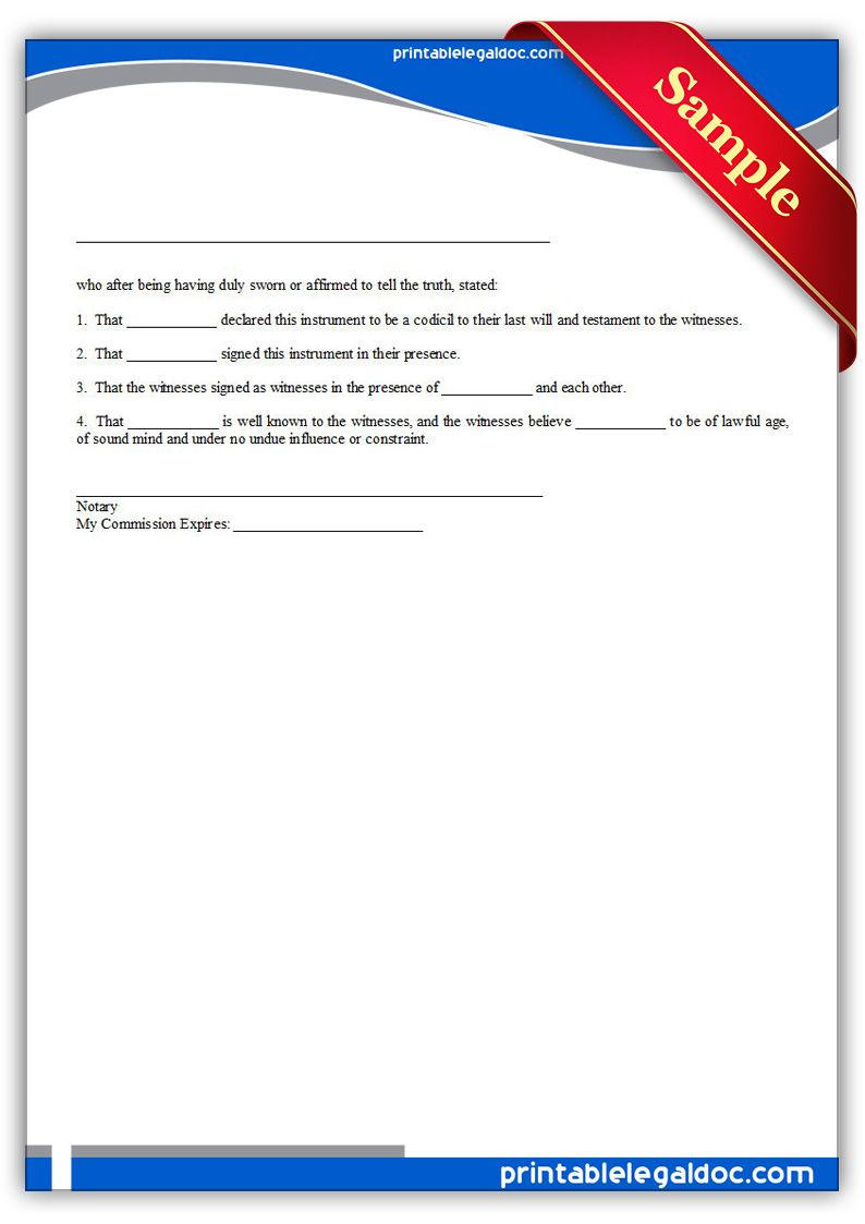Free Printable Codicil Sample Printable Legal Forms Downtownnotaryhowitworks