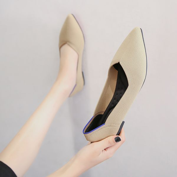 Beige Pointed Toe Flat